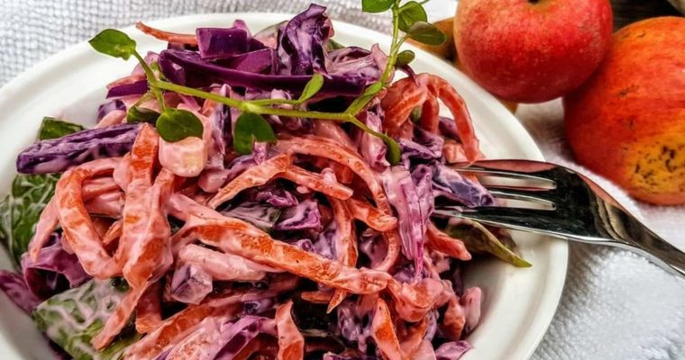Rode kool salade met Winterpeen en Goudreinet