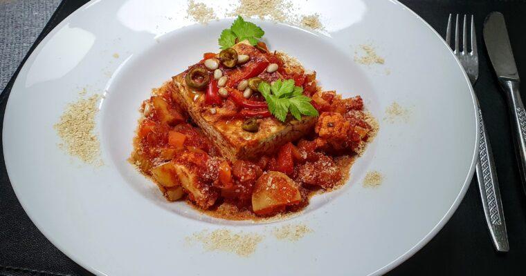 Tofu uit de oven met homemade tomaten groenten saus